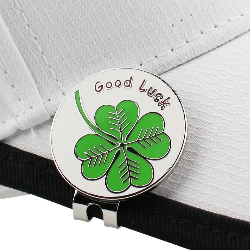Lucky Clover Golf Cap Clip Golf Ball Marker Alloy Professional 1.18