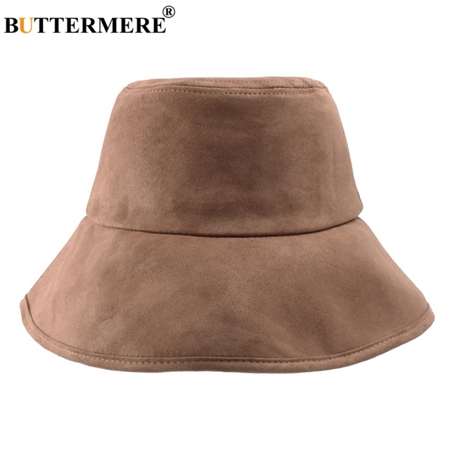 BUTTERMERE Men Bucket Cap Suede Leather Male Korean Casual Vintage Fishing  Hat Foldable Spring Autumn Brown Bucket Hats Ladies 067ee1dbdd0