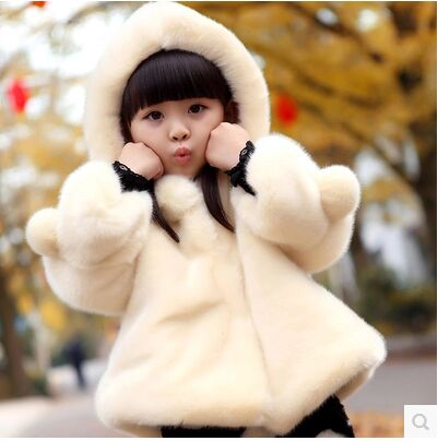 2Kids Family fitted autumn and winter new wave 3 girls fur coat thick coat Children aged 13 baby jacket bell sleeves buttoned loose fitted coat