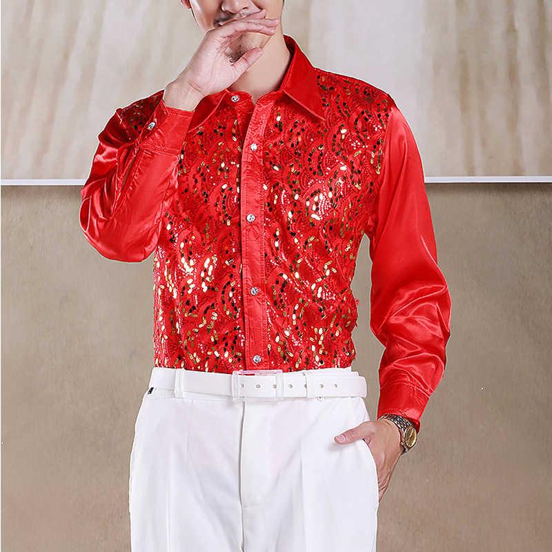 מבריק נצנצים נצנצים מועדון לילה המפלגה ריקוד חולצה גברים 2019 חדש ארוך שרוול לחצן למטה שלב דיסקו שמלת חולצה לגברים תחתונית