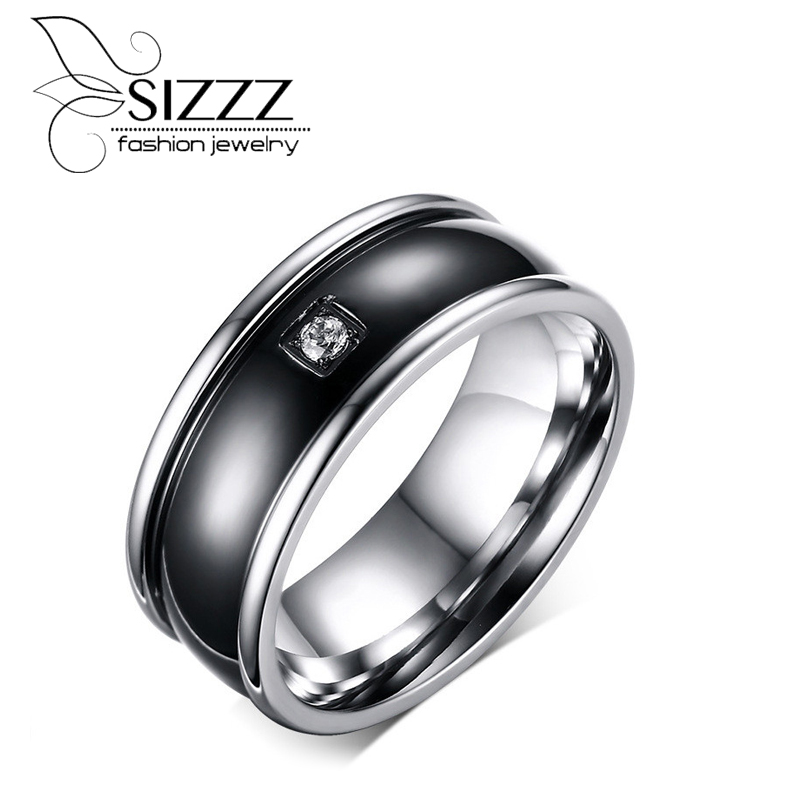 SIZZZ Men Ring Wedding Engagement Band Inlay CZ Stone Black Center