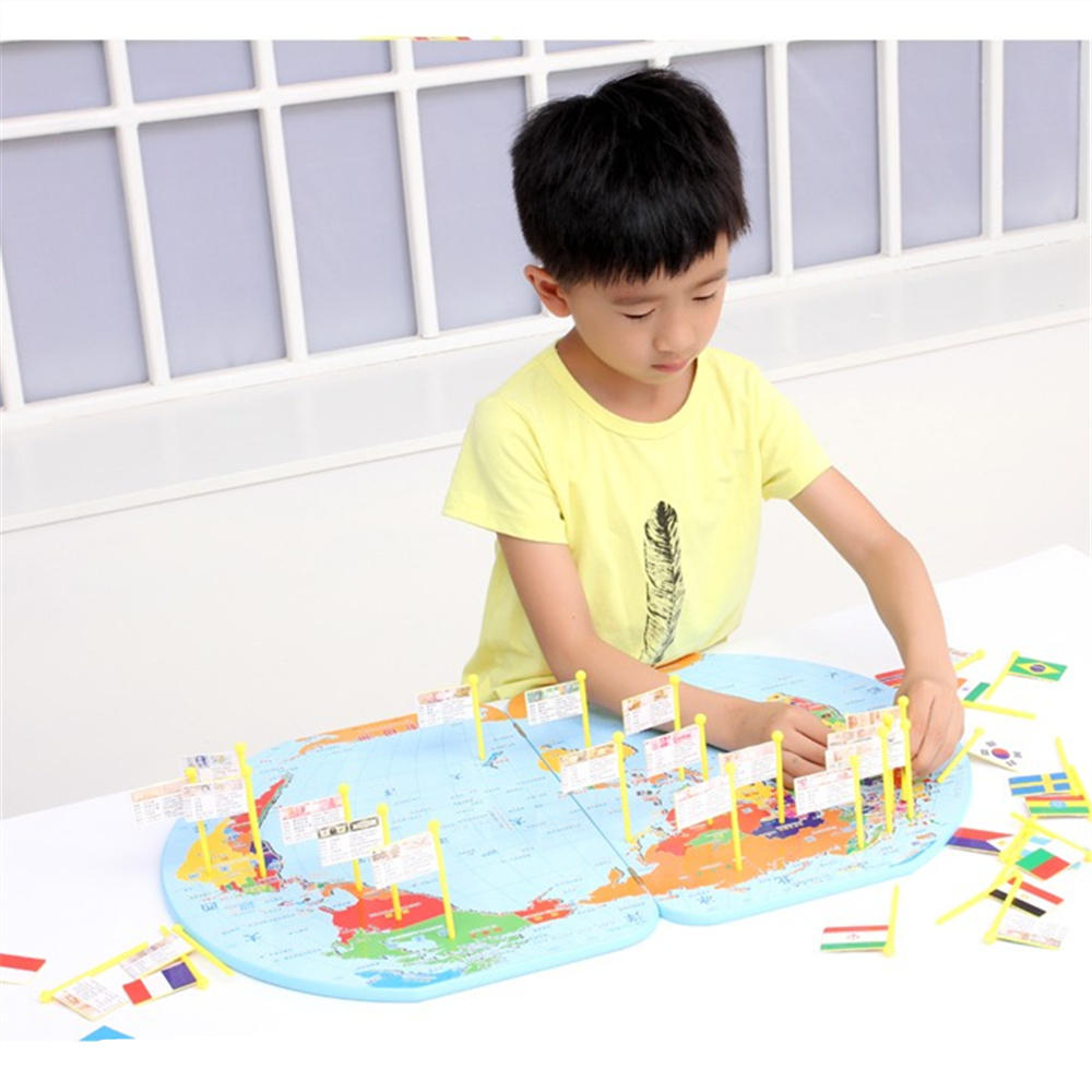 3D Wooden World Map Toy National National Flag Stereo Toys Educational Early Learning Puzzle Jigsaw For Kids Children