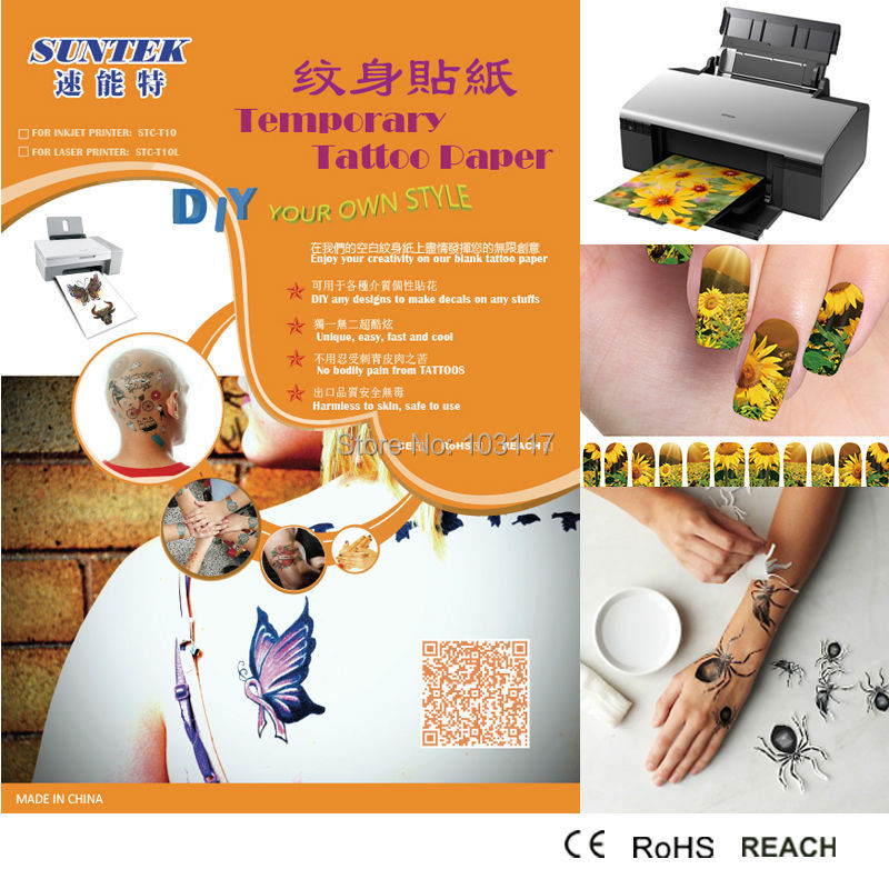 30sets Lot A4 Inkjet Laser Type Water Slide Temporary Tattoo Paper With
