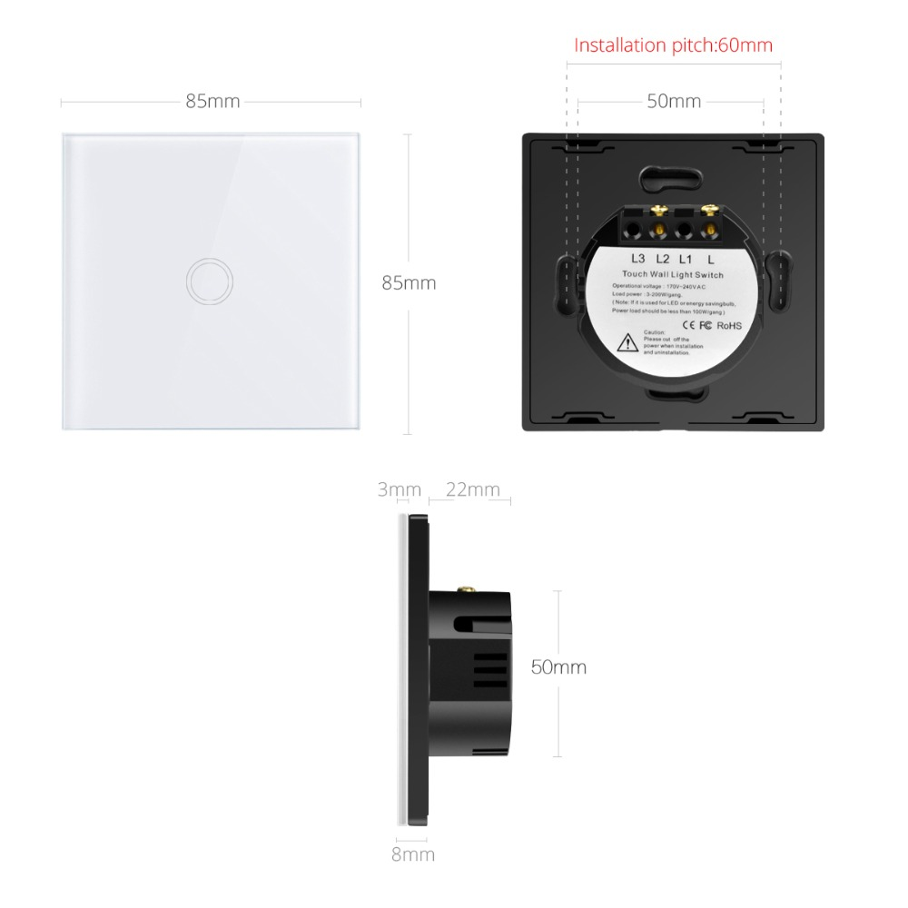 EU Standard Touch Switch Only White black gold Crystal Glass Panel Single fire LED Indicator Wall Light Touch Screen Switch D601 in Switches from Lights Lighting