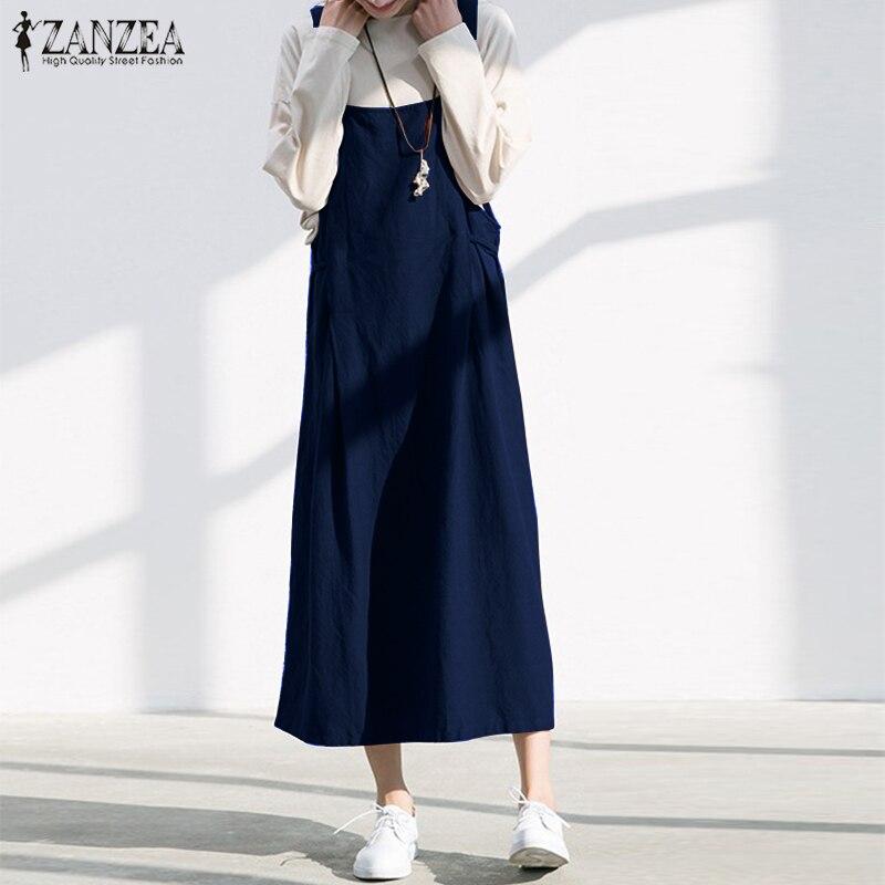 db4e76f369 Women Vintage Linen Dress ZANZEA 2018 Summer Long Overalls Strappy Casual Baggy  Dresses Sleeveless Female Vestido