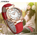 Luxury Fashion Brand SINOBI Classic Women Quartz Leather Strap Wrist Watches Black relogio feminino