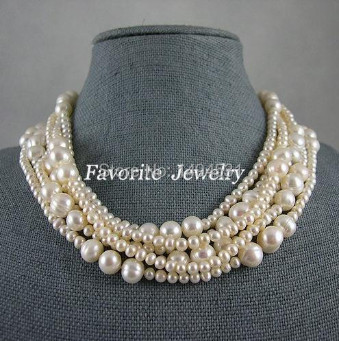 Pearl Necklace Wedding Bridesmaid Jewelry Perfect Multistrand 4MM 12MM 17 21 Inches 6 Rows White Freshwater