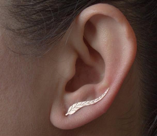 HTB1DT1YNXXXXXXVXVXXq6xXFXXXf Golden | Silver Leaf Feather Stud Earrings For Women