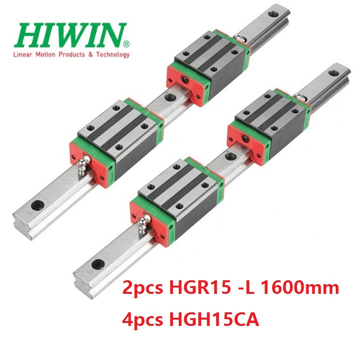 2pcs 100% original Hiwin linear guide rail HGR15 -L 1600mm And 4pcs HGH15CA narrow blocks for cnc2pcs 100% original Hiwin linear guide rail HGR15 -L 1600mm And 4pcs HGH15CA narrow blocks for cnc