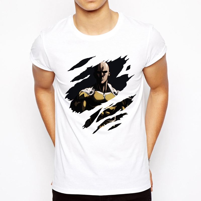 One punch man T-shirt 2018 Cool design Anime Men t shirt Saitama sensei t shirt OK Printed Casual Tee