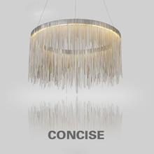 Aluminum Tassel Circular Pendant light For Living Room Dining Room Home Modern Luxury Simple European Style Led Bulb included