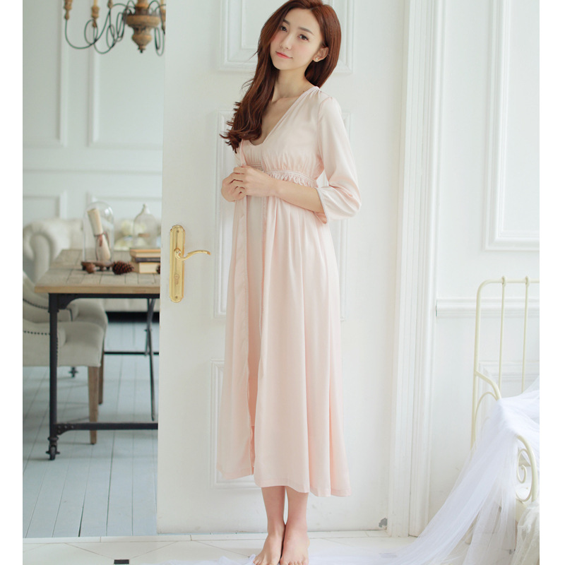 New Palace Retro High-end Long-end Nightgown Long-sleeved Women Sleepwear Spaghetti Strap Night Gown Sexy Sleep Dress 2 Suits