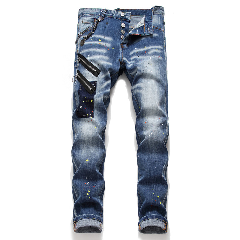 New Mens Jeans Stretch Elastic Skinny Jeans Men Blue Printed Paint Pants Male Trousers Clothes Streetwear Spring Autumn Hip Hop