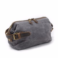 DAYGOS Canvas Travel Toiletry Organizer Shaving Dopp Kit Leather Travel Cosmetic Bag Makeup Men Handbag Casual