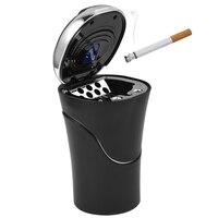 CARGOOL Solar Powered Car Ashtray Portable Car Tobacco Ashtray Durable Auto Cigarette Ashtray With Lid Blue