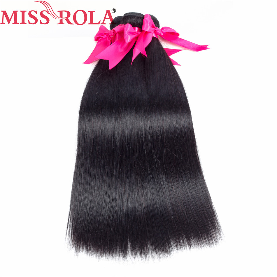 Miss Rola Hair Peruvian Straight 100% Human Hair 3 Bundles With 13 * - Menneskehår (sort) - Foto 2