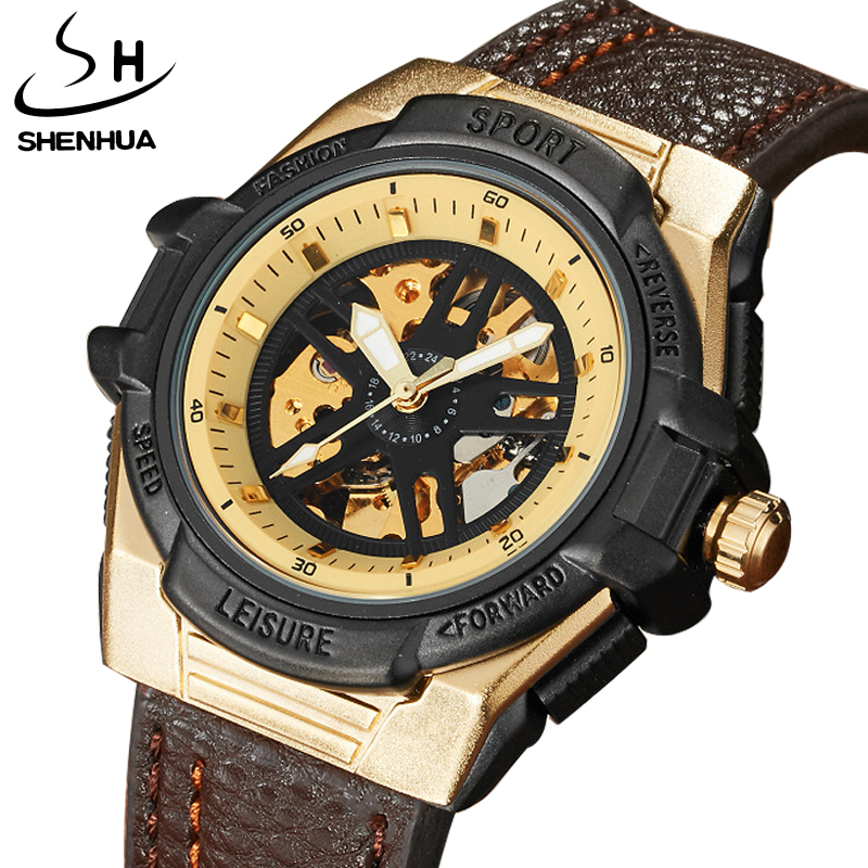 New Fashion Top Brand Mechanical Watches Male Fashion Skeleton Dial Automatic Mechanical Watch Leather Wristwatches Reloj Hombre t winner fashion women girl skeleton dial handind mechanical watch watches pu leather band wristwatches gift free ship