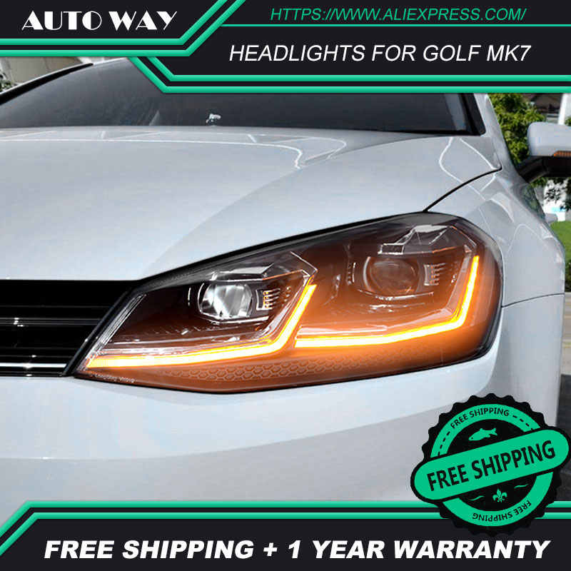Car Styling Head Lamp for VW Golf7 Headlights Golf 7 MK7 MK7.5 2013-2017 LED Headlight H7 D2H Hid Angel Eye Bi Xenon Beam