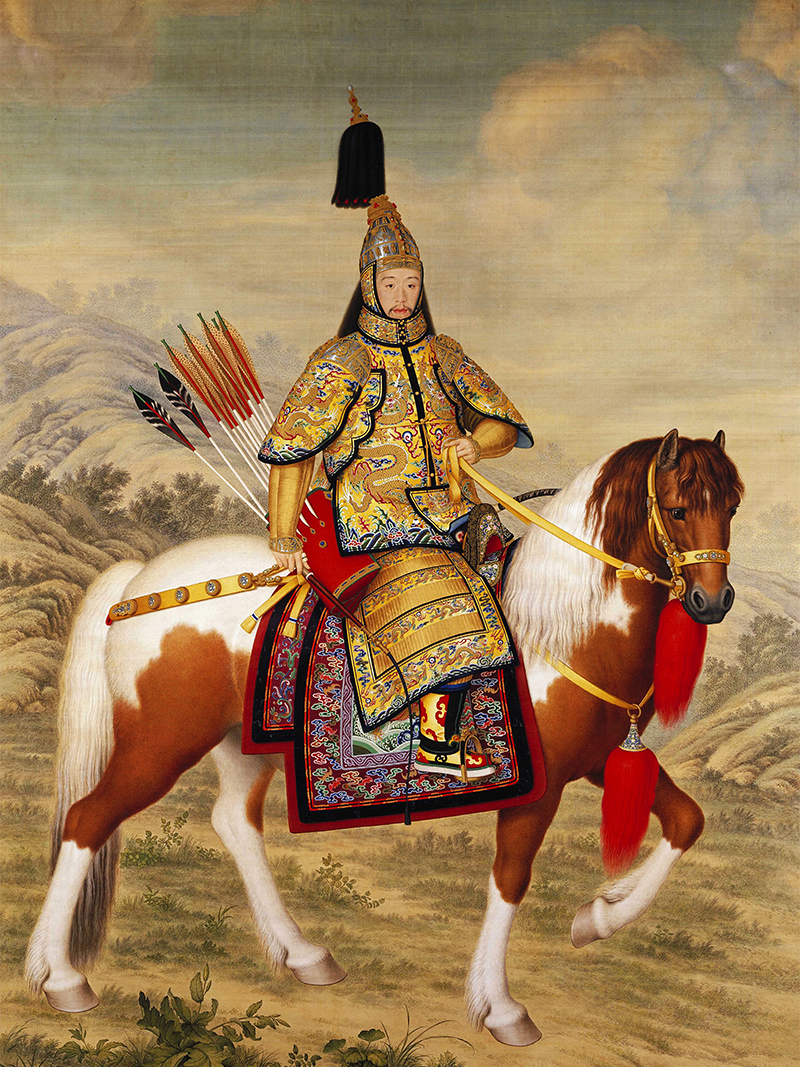 canvas prints Chinese style traditional painting reproduction giant poster emperor Qianlong  hunting portrait art picture