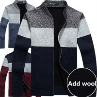 Men's Knitted Sweaters Cardigans Collar Winter Wool Sweater Fashion Cardigans Male Sweaters Coat Brand Men's Clothing08
