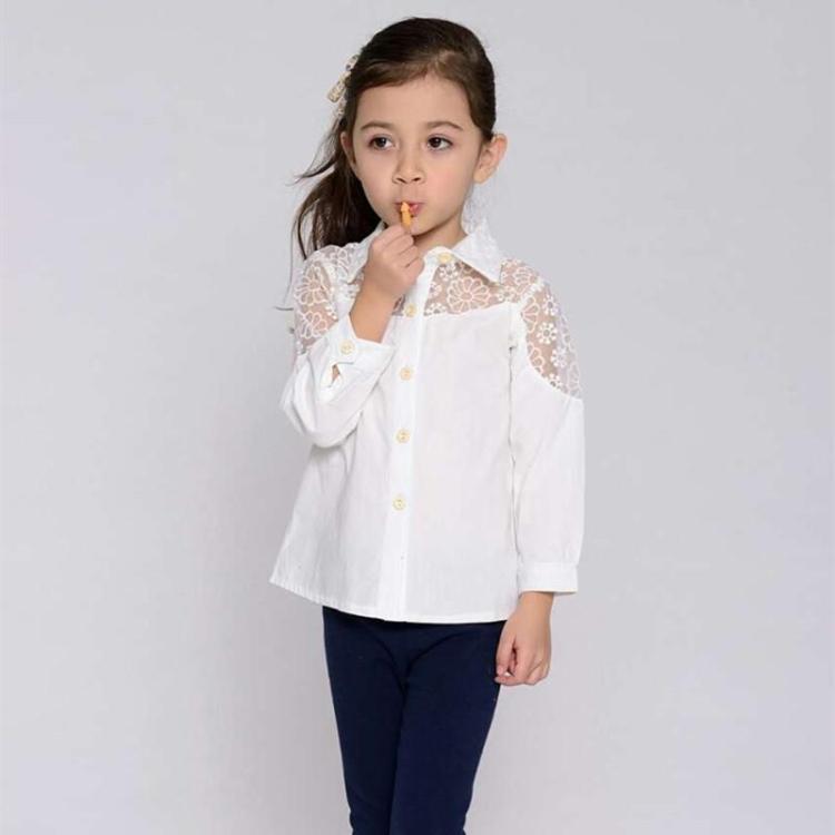 Online Shop Girl white blouse 2015 new school brand cotton baby ...