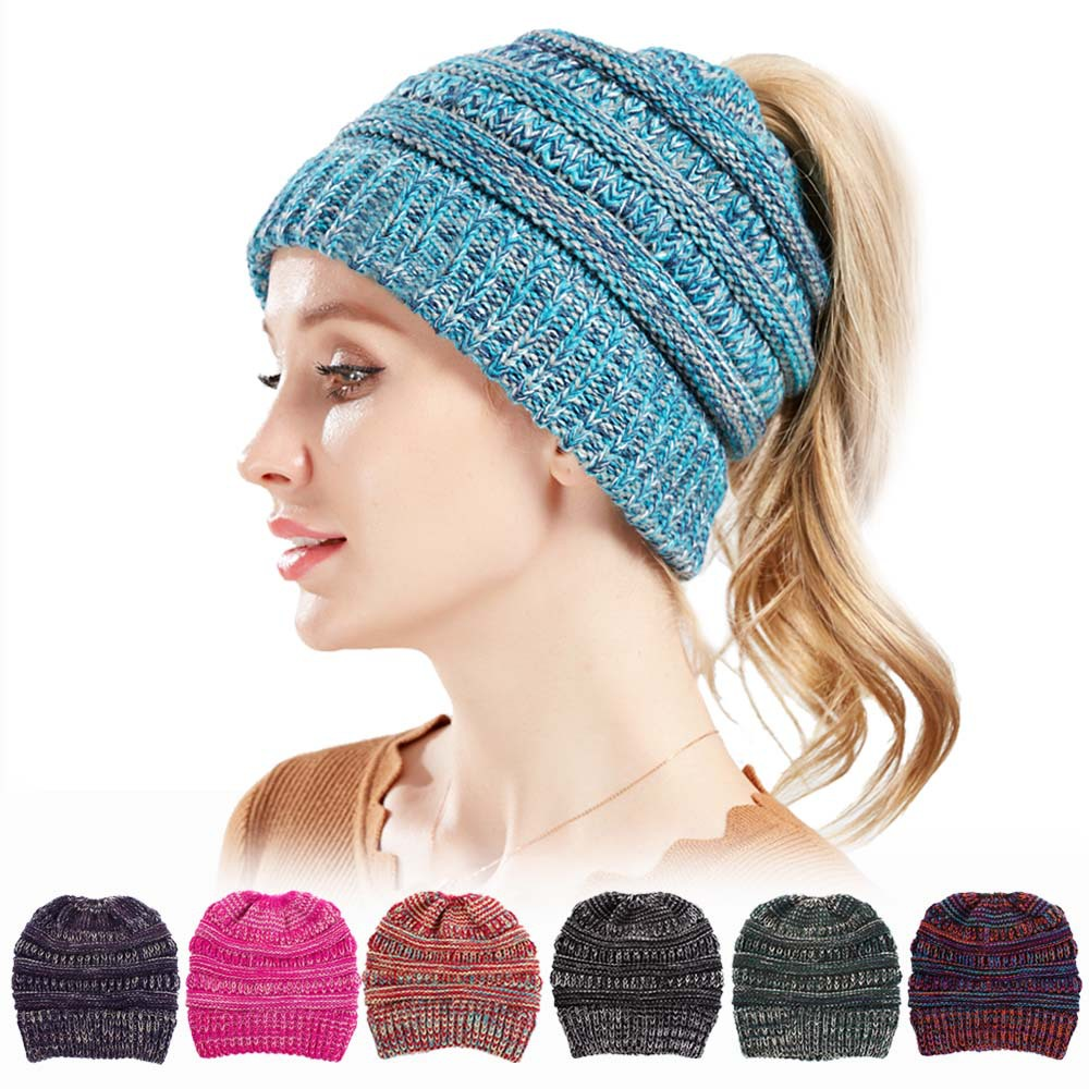 b9f817ffa8f9a CC Ponytail Beanie Hat Women Crochet Knit Cap Winter Skullies Beanies Warm Caps  Female Knitted Stylish Hats for Ladies Fashion