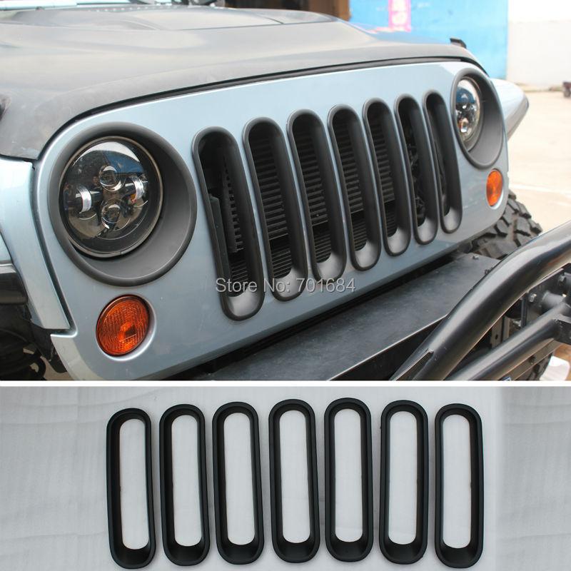 Black Front Grille Grid Guard Insert Trim Cover For Jeep Wrangler JK 07 08 09 10