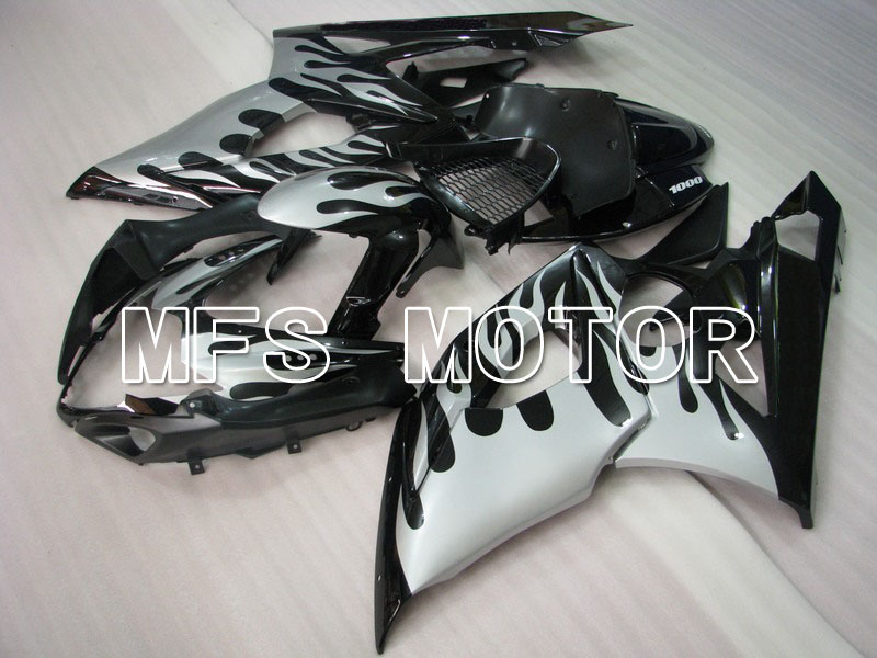 For Suzuki GSXR 1000  K5 2005 2006 Injection ABS Fairing Kits GSXR1000 K5 05 06 - Silver white Flame - Black custom injection moulding abs fairings kit for suzuki k5 2005 kits 2006 gsxr 1000 05 06 white silver motorcycle fairing kit