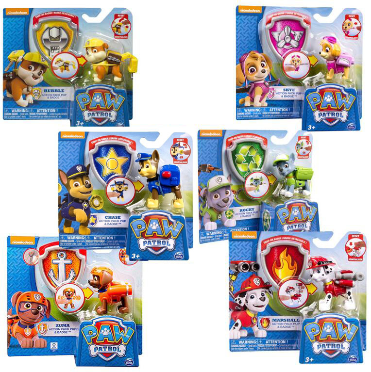 US $9 95 50% OFF|Genuine Paw Patrol Action Pack Pup & Badge chase marshall  rocky zuma skye rubble apollo children's toy original box-in Action & Toy