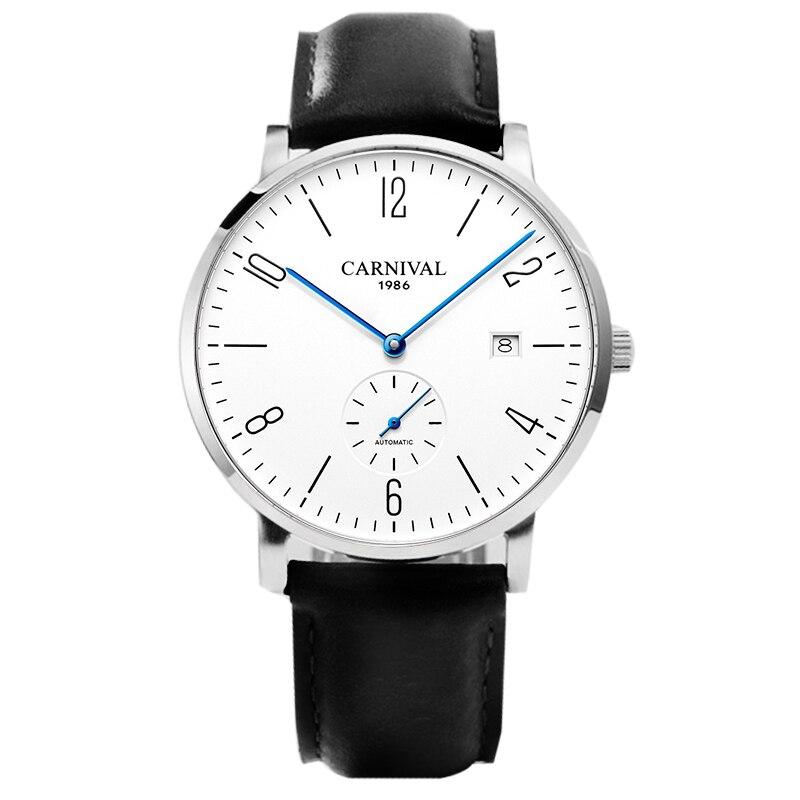 Switzerland Luxury Brand Carnival Men's Watches Auto Mechanical Watch Men Genuine Leather Strap Sapphire Mirror Clock C8017-1