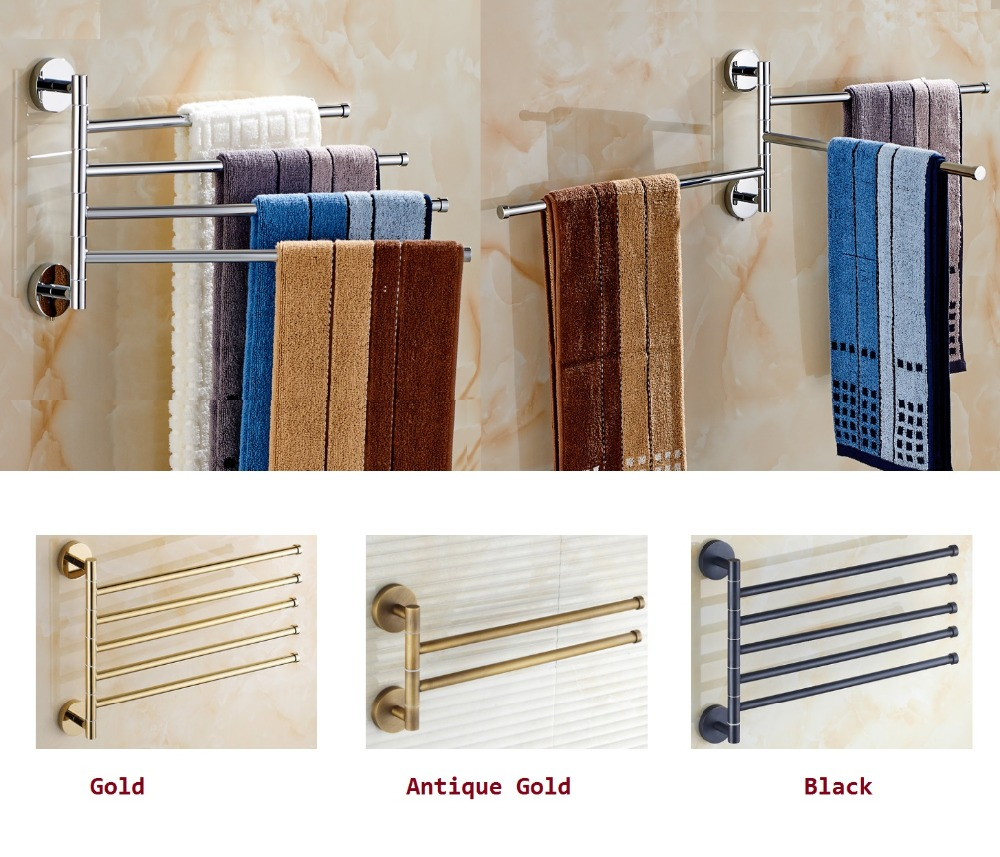 Brass Towel Holder Swivel Bars Bath Rack Rail Bathroom towel Rack Gold Black Chrome rotatable revolvable towel rack