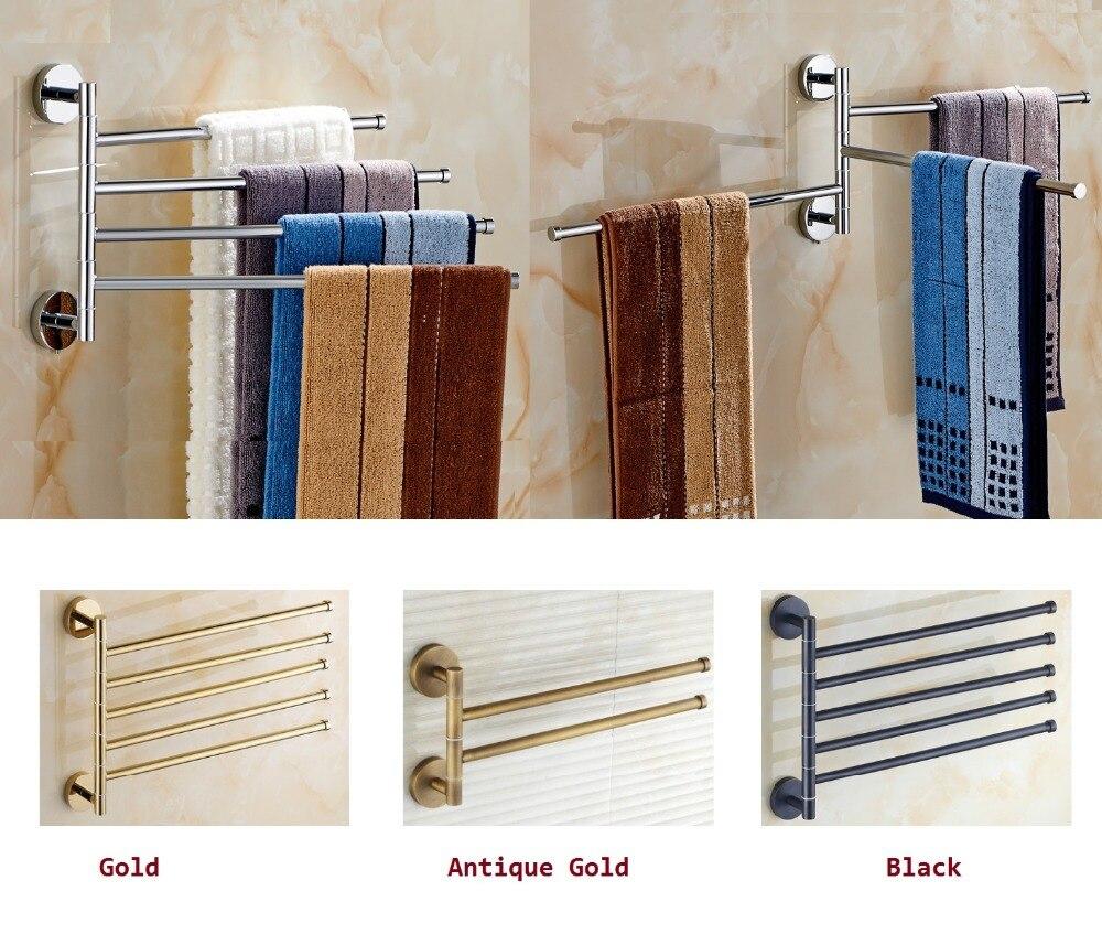 Brass Towel Holder Swivel Bars Bath Rack Rail Bathroom towel Rack Gold Black Chrome rotatable revolvable towel rack
