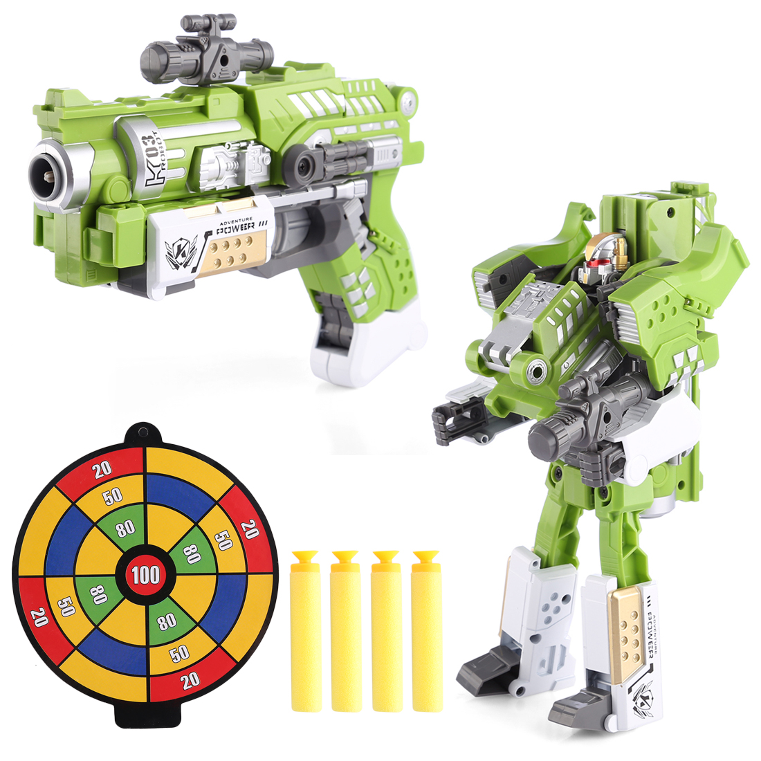 KaiLi Alloy Soft Air Blaster Educational Toy - Green Battle Deformation Robot Type