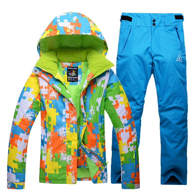 Free delivery in 2016 Outdoor climbing ski suit + pants Ms. thick warm wind woman ski jacket Size S M L XL Multicolor pants