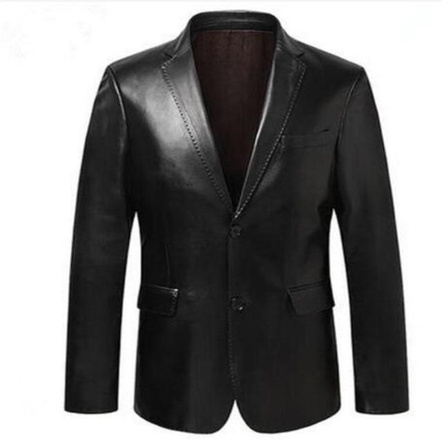 男性スーツジャケットスリム上着男性の本革スーツ男性シープスキンブレザーブラックブルーワインレッド