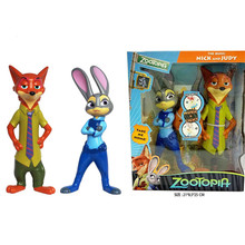 2pcs/set  Multifunctional Cartoon Movie Zootopia Action Figure Toy Cute 20cm Judy Nick Luminous and Sounding PVC Collection Doll