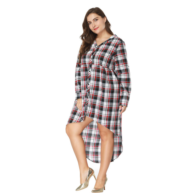 2018 New Desigher Women Dress Oversized 5XL Sexy Gift V Neck Plus Size Plaid Style Full Sleeve Straight Autumn Dresses Vestidos