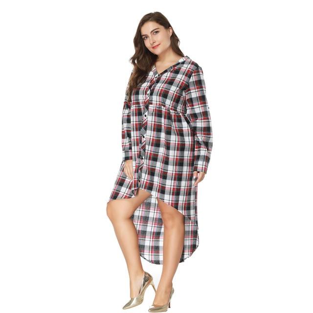 e54d215c62 2018 New Desigher Women Dress Oversized 5XL Sexy Gift V Neck Plus Size  Plaid Style Full