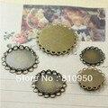 100PCS 14-30mm Copper Photo Blank Pendant Lace Tray Pad Cameo,Antique Bronze Zakka Jewelry Findings Setting