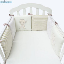 Infant Crib Bumper Bed Protector Baby Kids Cotton Cot Nursery bedding 6 pcs Plush Bear Bumper For Boy And Girl(China)