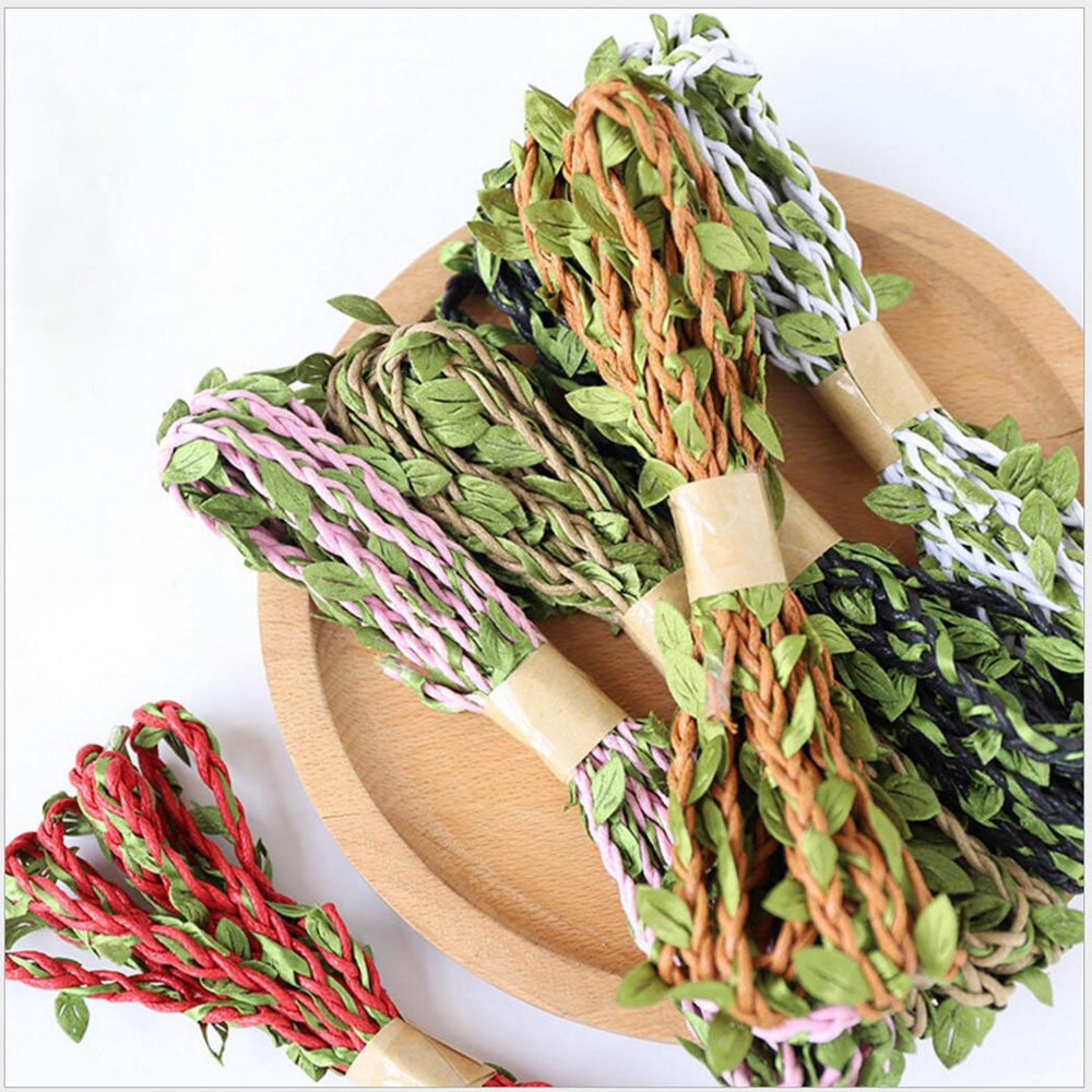 100M Jute Ivy Rattan Artificial Silk Green Leaves Jute Rope DIY Wedding Birthday Party Decor Rattan Gift Bouquet Packaging Rope