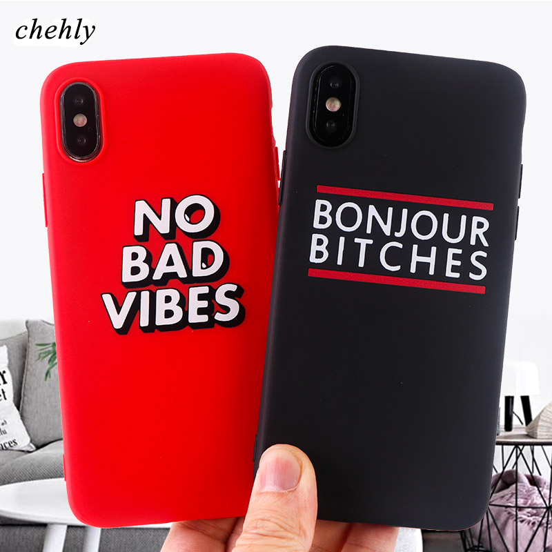 No Bad Vibes Phone case for iPhone X XS XR Max 8 7 6 S plus Cases Funny soft silicone Fitted Mobile phone Accessories covers