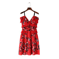 2018 Summer Self Portrait Dress Women Sexy Mini Boho Dress V Neck Red Floral Printed Spaghetti