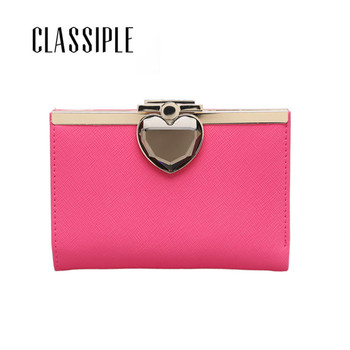 Split Leather Wallet Women Short Hasp Luxury Brand Womens Thin Wallets Design With Coin Purse Pockets Students Girls Sweet Heart