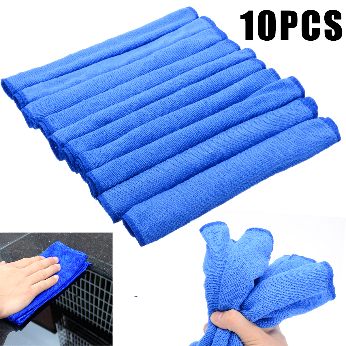 Image 2 - 10pcs Blue Microfiber Cleaning 30*30cm Auto Car Detailing Soft Microfiber Cloths Wash Towel Duster Home Cleaning Tools-in Car Washer from Automobiles & Motorcycles