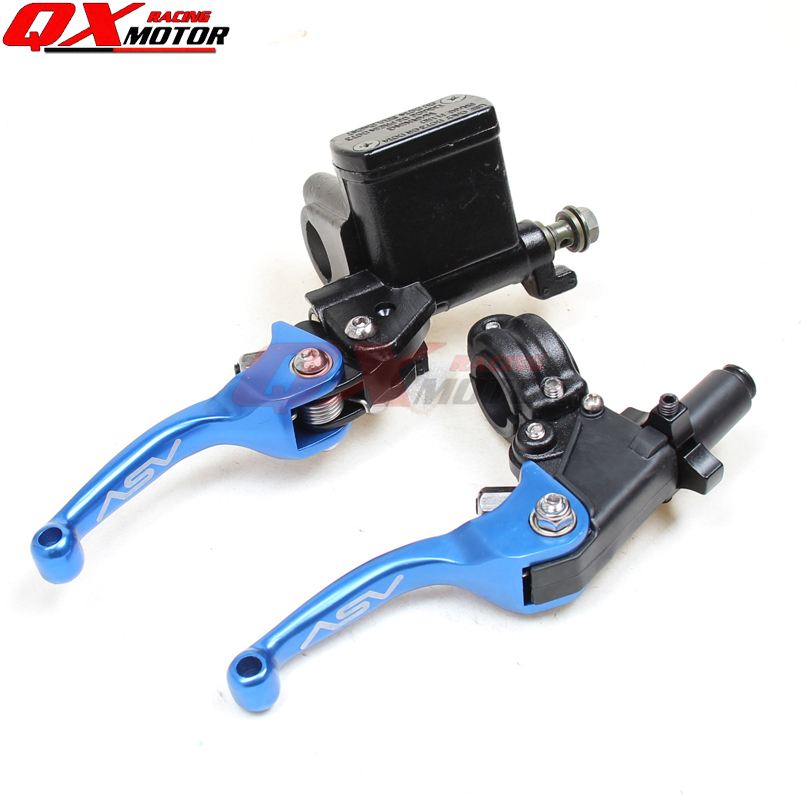 ASV CNC BLUE folding brake lever clutch Lever with front pump Fit Most Motorcycle Dirt Pit Bike Motorcross CRF KLX YZF RMZ asv clutch and brake folding aluminum lever for dirt bike pit bike spare parts