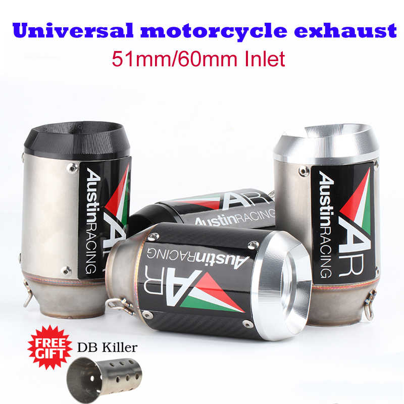 51/60MM Universal motorcycle exhaust muffler austin racing AR exhaust with  DB killer laser for Yamaha R6 R1 MT09 R3 R15 Z900 Z25