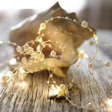 Battery Operated Pearl LED Glimmer copper wire String lights Pearlized Fairy Lights for Wedding Home Party Christmas Decorations(China)