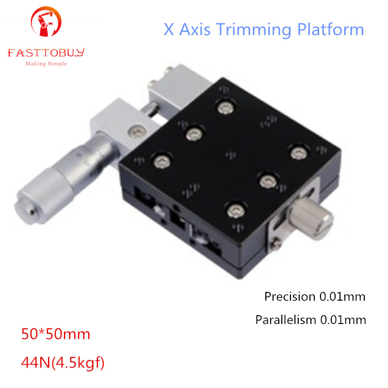 50*50mm X Axis Trimming Platform Precision 0.01mm Parallelism 0.01mm 44N(4.5kgf) Sliding Table Manual Displacement Platform austria ruwido i 1k 100k 220k 470k axis length 50mm