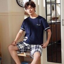 Новые для мужчин пижамный комплект летние пижамный комплект для мужчин простой пижамы короткий рукав ночное короткий топ брюки для отдыха Верхняя одежда